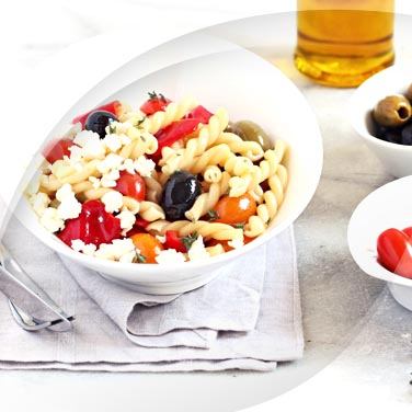 Cold Pasta with Feta and Olive Rounds