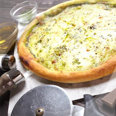 Pizza with Potatoes, Pesto and Stracchino