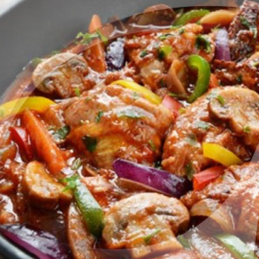 Chicken with Bell Peppers and Mushrooms
