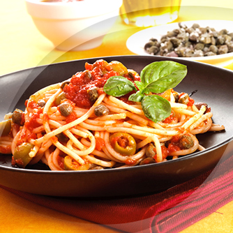 Spaghetti with Polli Capers and Olives