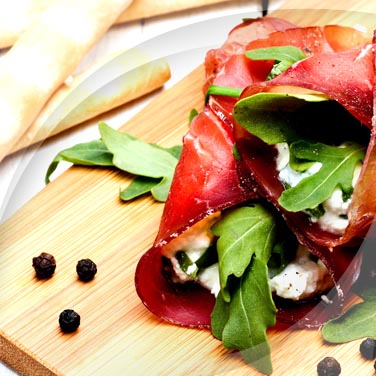 Bresaola Rolls with Robiola and Vegetables