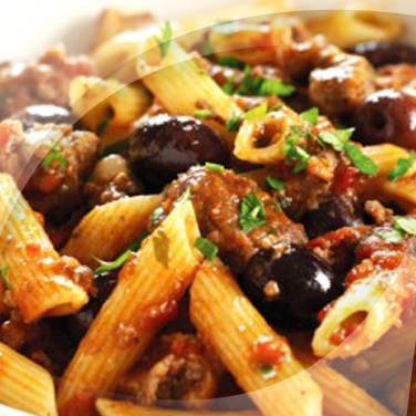Penne with Sausage and Olives