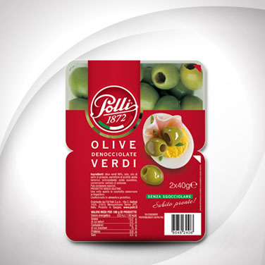 Green Pitted Olives Tray Polli